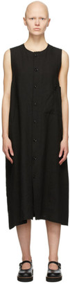 Y's Ys Black Linen Pocket Mid-Length Dress