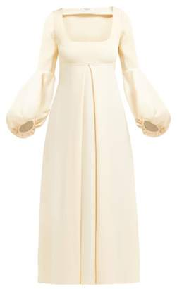 Françoise Francoise - Balloon-sleeve Empire-line Crepe Midi Dress - Womens - Ivory