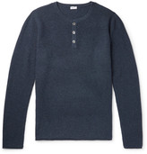 Schiesser Julius Waffle-knit Wool And Cashmere-blend Henley T-shirt - Blue
