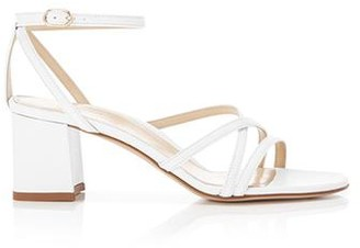 Marion Parke Bianca White | Strappy Leather Block Heel Ankle Tie Sandal