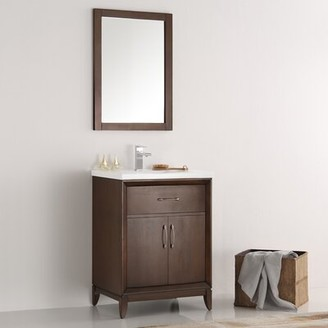 "Cambridge Silversmiths 24"" Single Bathroom Vanity Set with Mirror Fresca Base Finish: Antique Coffee"