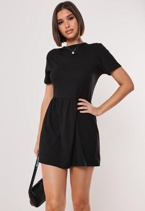 Missguided Black Short Sleeve Jersey Smock Dress