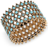 Lucky Brand Gold-Tone Turquoise-Look Bead Wide Cuff Bracelet
