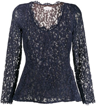 Yves Saint Laurent Pre Owned 1990's Lace Peplum Top
