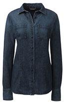 Classic Women's Petite Long Sleeve Denim Shirt-Dark Denim Wash