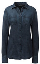 Lands' End Women's Petite Long Sleeve Denim Shirt-Dark Denim Wash