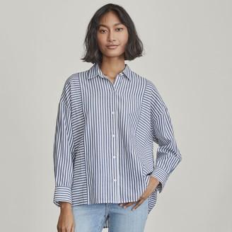 Elizabeth and James Women's Mixed Stripe Button-Down Shirt