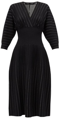 Proenza Schouler Chalk-stripe Ribbed-waist Jersey Midi Dress - Black Multi