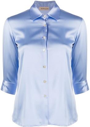 Blanca Vita Satin Button-Up Shirt