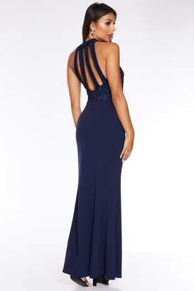 Quiz Navy Lace Sequin Embellished Strap Back Maxi Dress