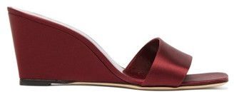 STAUD Billie Square-toe Satin Wedge Mules - Womens - Burgundy