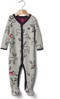 Gap Reindeer double-knit footed one-piece