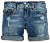 7 For All Mankind Girls' Distressed Roll Cuff Shorts - Sizes 7-14