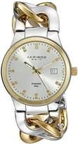 Akribos XXIV Women's AK608TTG Swiss Quartz Movement Watch with Silver Dial and Two Tone Bracelet