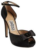 Salvatore Ferragamo black satin bow detail peep-toe 'Rosie' platform pumps