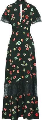 Lela Rose Coated Lace-paneled Cutout Floral-print Crepe De Chine Gown