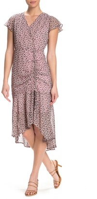 Sam Edelman Ruched Front High/Low Midi Dress