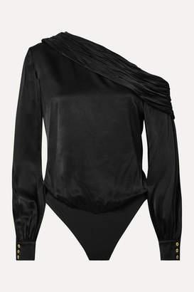 Rachel Zoe Melissa One-shoulder Satin Bodysuit - Black