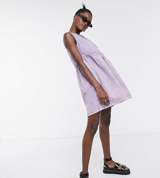 Collusion sleeveless smock dress in washed purple