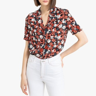 La Redoute Collections Floral Print Blouse with Tailored Collar and Short Sleeves