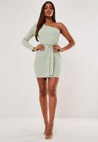 Missguided Green Rib One Shoulder Tie Belt Mini Dress