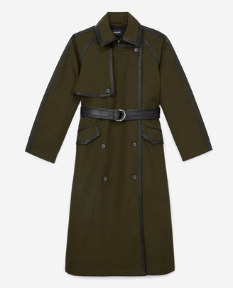 The Kooples Khaki cotton trench coat with leather belt