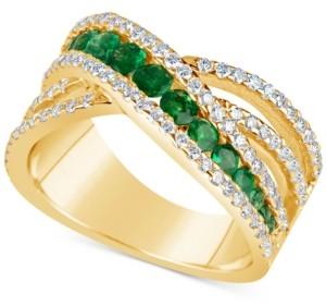 Macy's Emerald (9/10 ct. t.w.) and Diamond (3/4 ct. t.w.) Crisscross Ring in 14k Gold