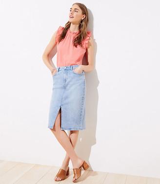 LOFT Petite Long Denim Pencil Skirt