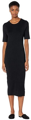 J.Crew Rib Knit Short Sleeve Midi Dress (Black) Women's Dress