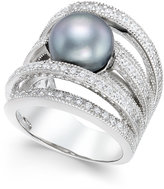 Macy's Gray Cultured Freshwater Pearl (10mm) and Cubic Zirconia Multi-Row Statement Ring in Sterling Silver
