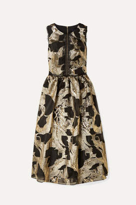 Marchesa Cutout Lace-trimmed Metallic Fil Coupé Organza Midi Dress - Gold