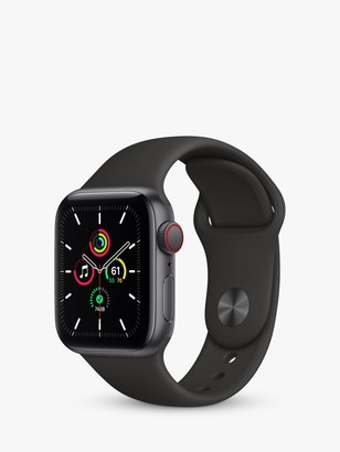Apple Watch SE GPS + Cellular, 40mm Space Grey Aluminium Case with Black Sport Band - Regular