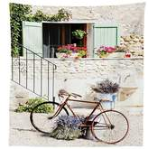 vipsung Bicycle Decor Tablecloth European French Mediterranean Rural Stone House with A Bike Countryside Provence Day Photo Dining Room Kitchen Rectangular Table Cover