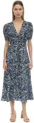 Saloni Lea Silk Crepe De Chine Midi Dress