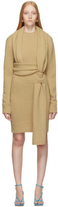 Bottega Veneta SSENSE Exclusive Beige Brushed Wool Dress