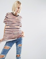 Asos T-Shirt In Broken Stripe