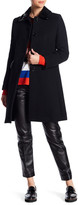 Love Moschino Faux Patent Leather Trim Coat