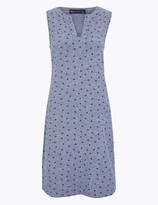 Marks and Spencer Linen Blend Polka Dot Shift Dress