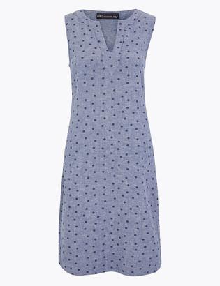 Marks and Spencer Linen Polka Dot Shift Dress