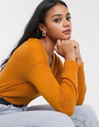 Brave Soul corda v neck jumper-Orange