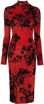 Balenciaga Floral-Print Turtleneck Dress