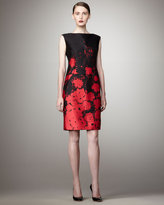 Rickie Freeman for Teri Jon Floral-Printed Sheath Dress