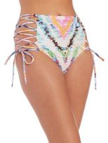 Mara Hoffman Rainbow Roll Lace-Up High-Waist Bikini Bottom