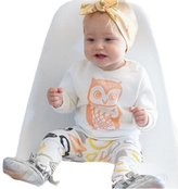 Janeyer® Janeyer Newborn Toddler Girls Owl Printed Tops Shirt + Pants Suit Two