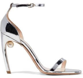 Nicholas Kirkwood Mira 105 Embellished Faux Mirrored-leather Sandals