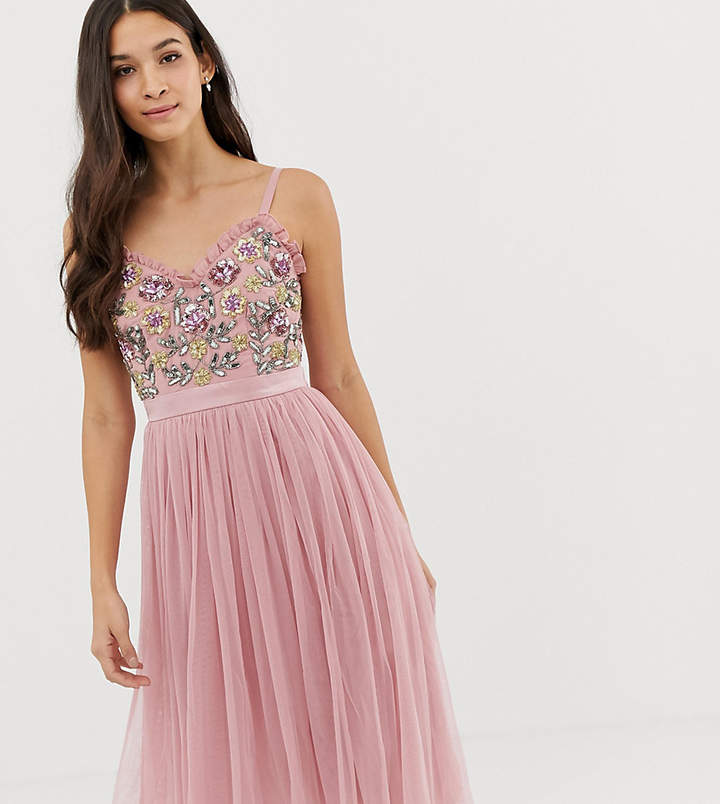 Maya cami strap contrast embellished top tulle detail midi dress in vintage rose