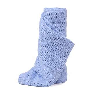 Dudu N Girlie® - 100 Percent Pure Cotton - Extra Soft Cellular Baby Blanket- Pram/Travel Cot/Moses Basket/Crib-70x90cm. (Blue)