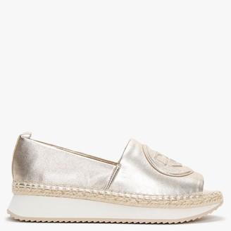 DKNY Oren Platinum Leather Peep Toe Espadrilles