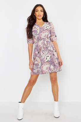 boohoo Boho Paisley Print Shirred Waist Skater Dress