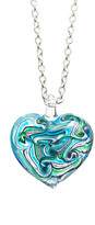 Glass Heart Pavcus Designs Women's Necklaces - Teal & Green Pendant Necklace
